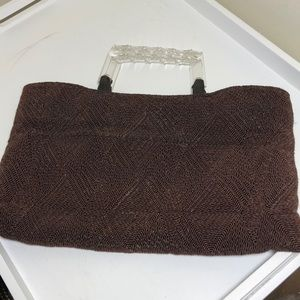 Vintage brown woven bag with Lucite handles